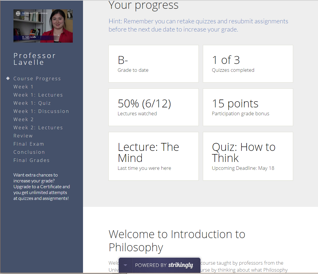 I used Strikingly to create a working prototype of a course for an online education company to help them think about different ways to show their content . Click the image to see the live demo.