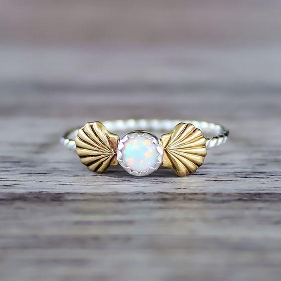 Opal Shell Ring