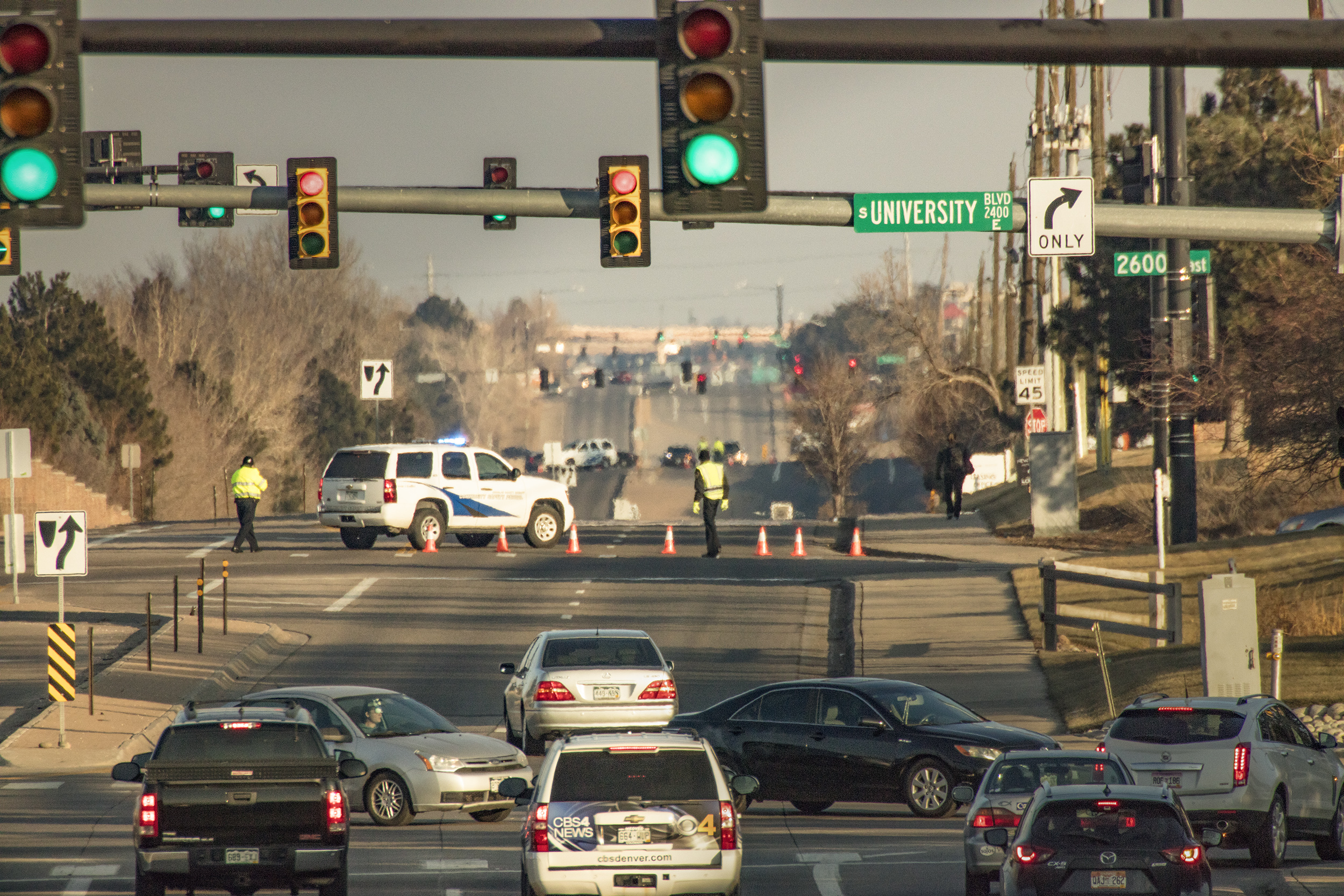 Road closure due to mass shooting, Highlands Ranch, CO. Sunday, Dec. 31, 2017