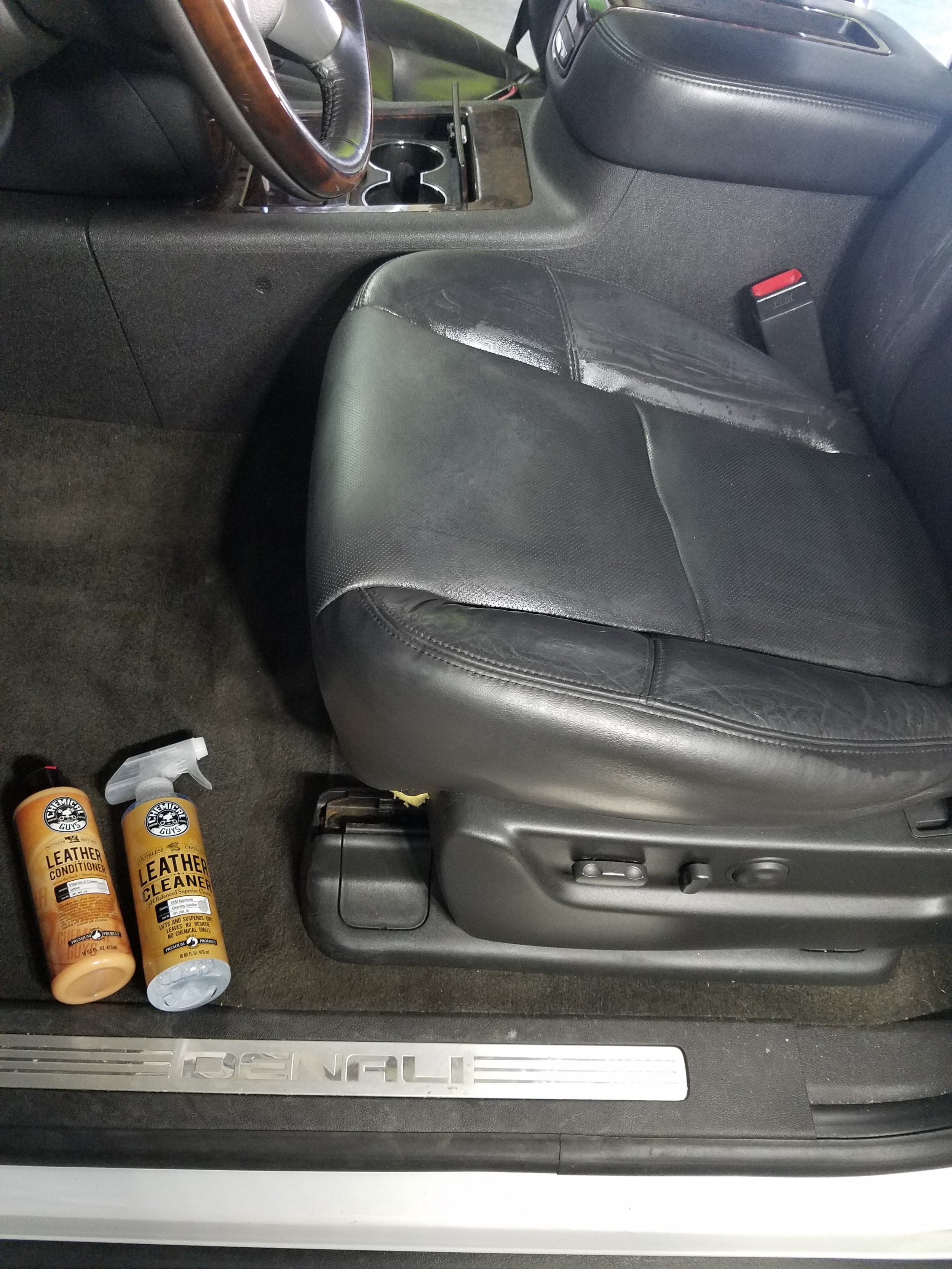 Interior leather getting ready for a deep clean and protectant