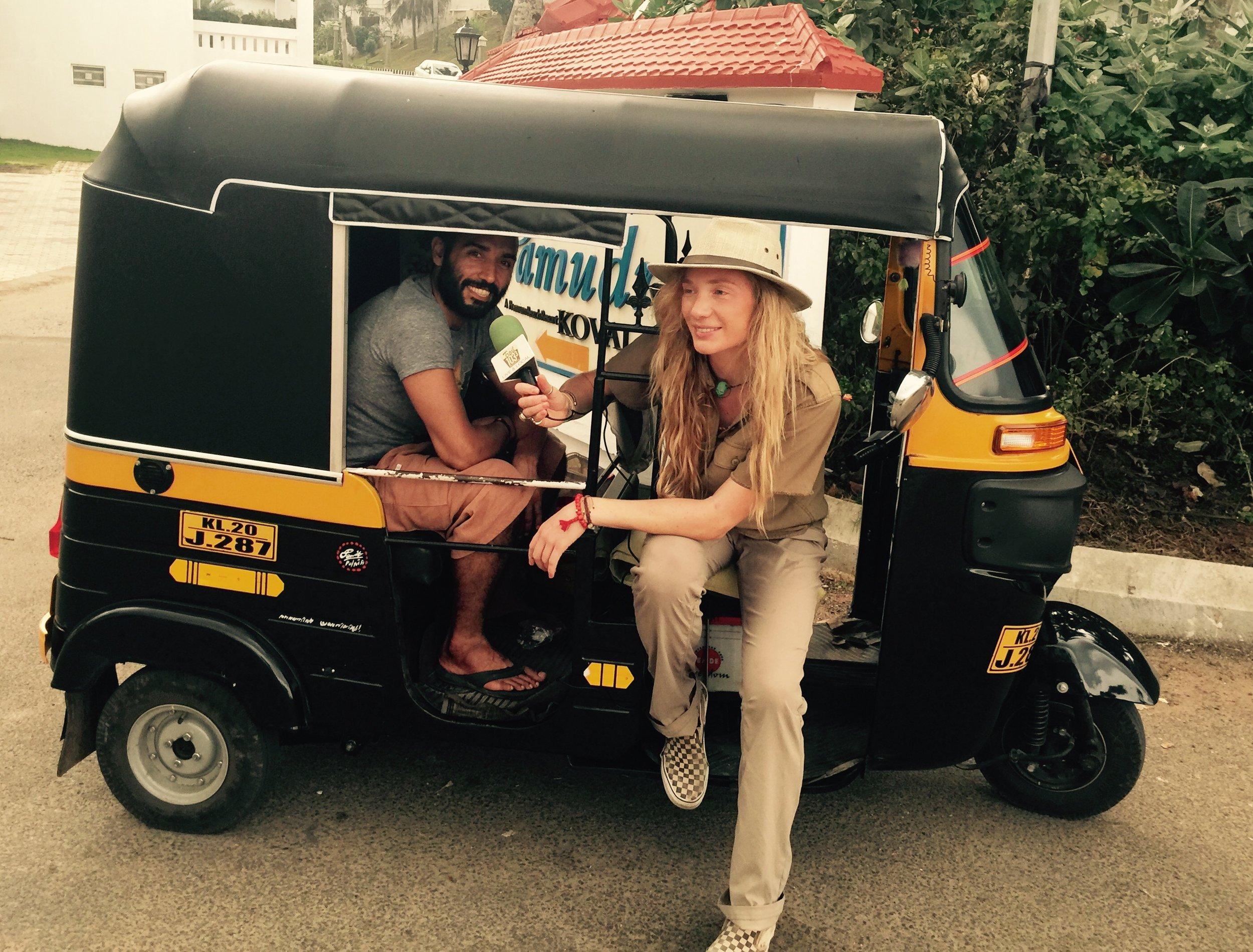 Interviewing Amir Izadi in a ricksha navigating the busy streets near Samudra Beach in Kerala, South India.