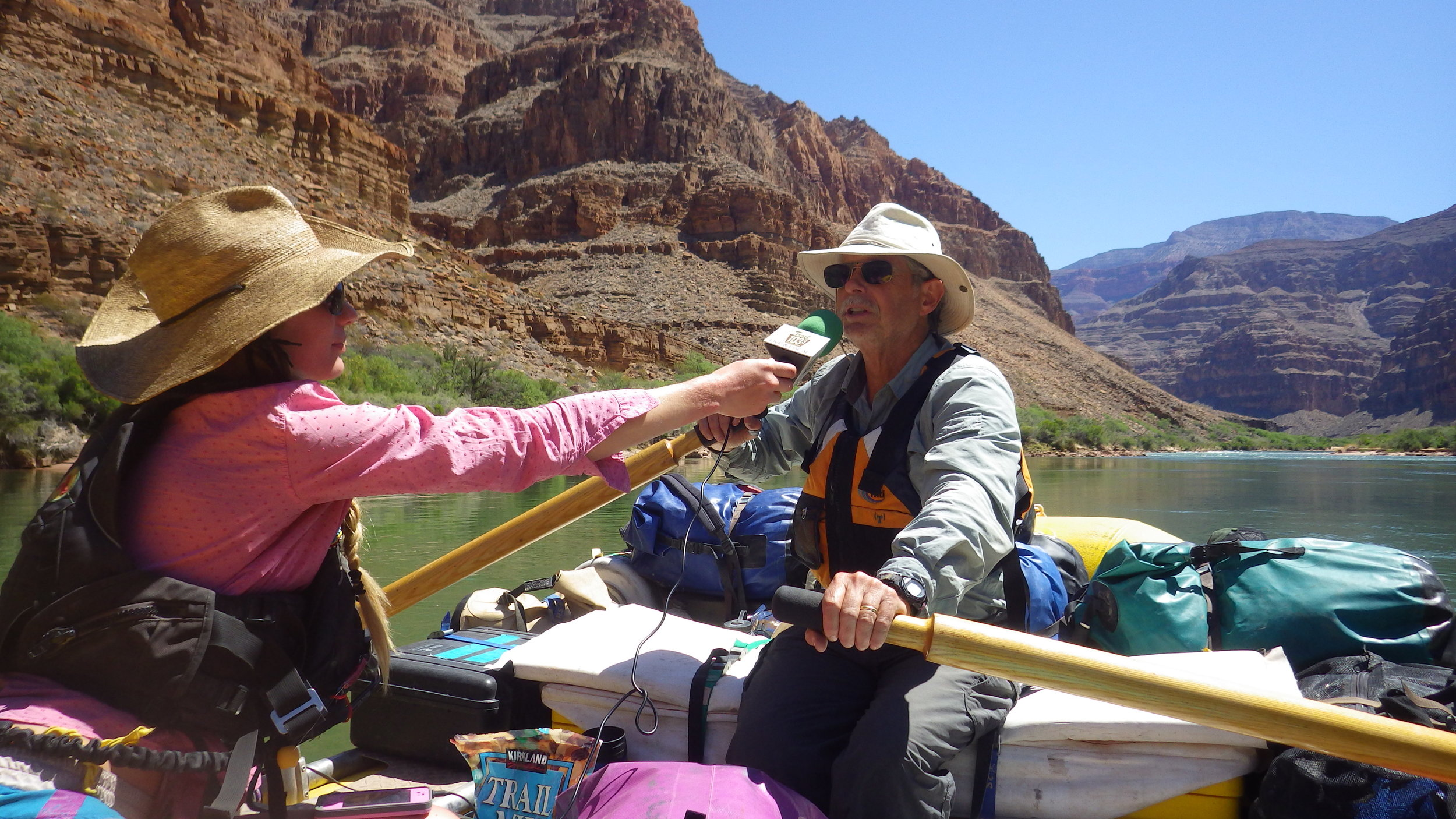 "Interviewing Dr. Larry Stevens, an evolutionary ecologist, while he rows the ""Science Boat"" down the Colorado River in The Grand Canyon just below Lava Falls."