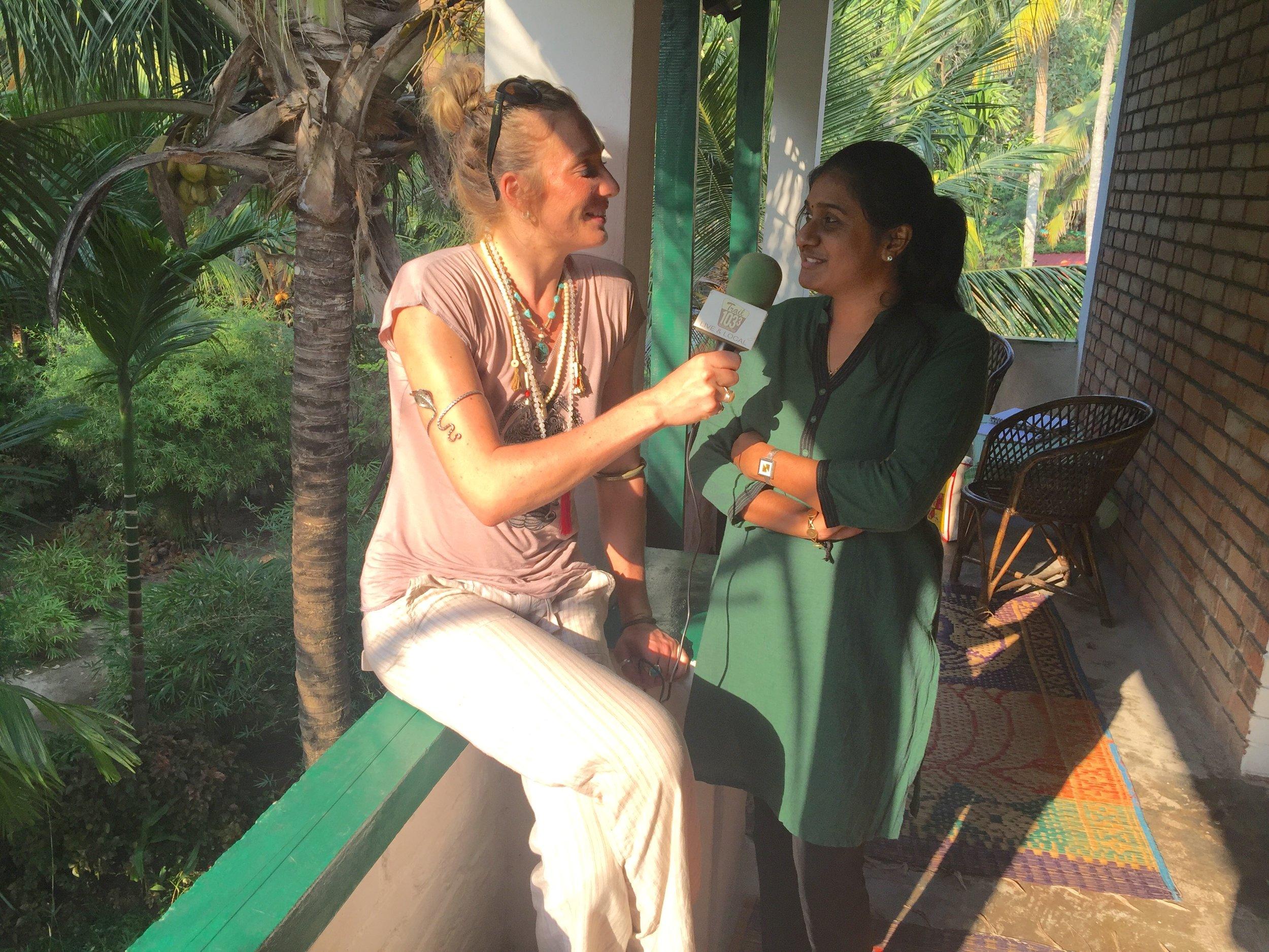 Mandela interviews Dr. Naveeda a the Arya Ayurvedic Panchakarma Centre in Kovalam, South India.