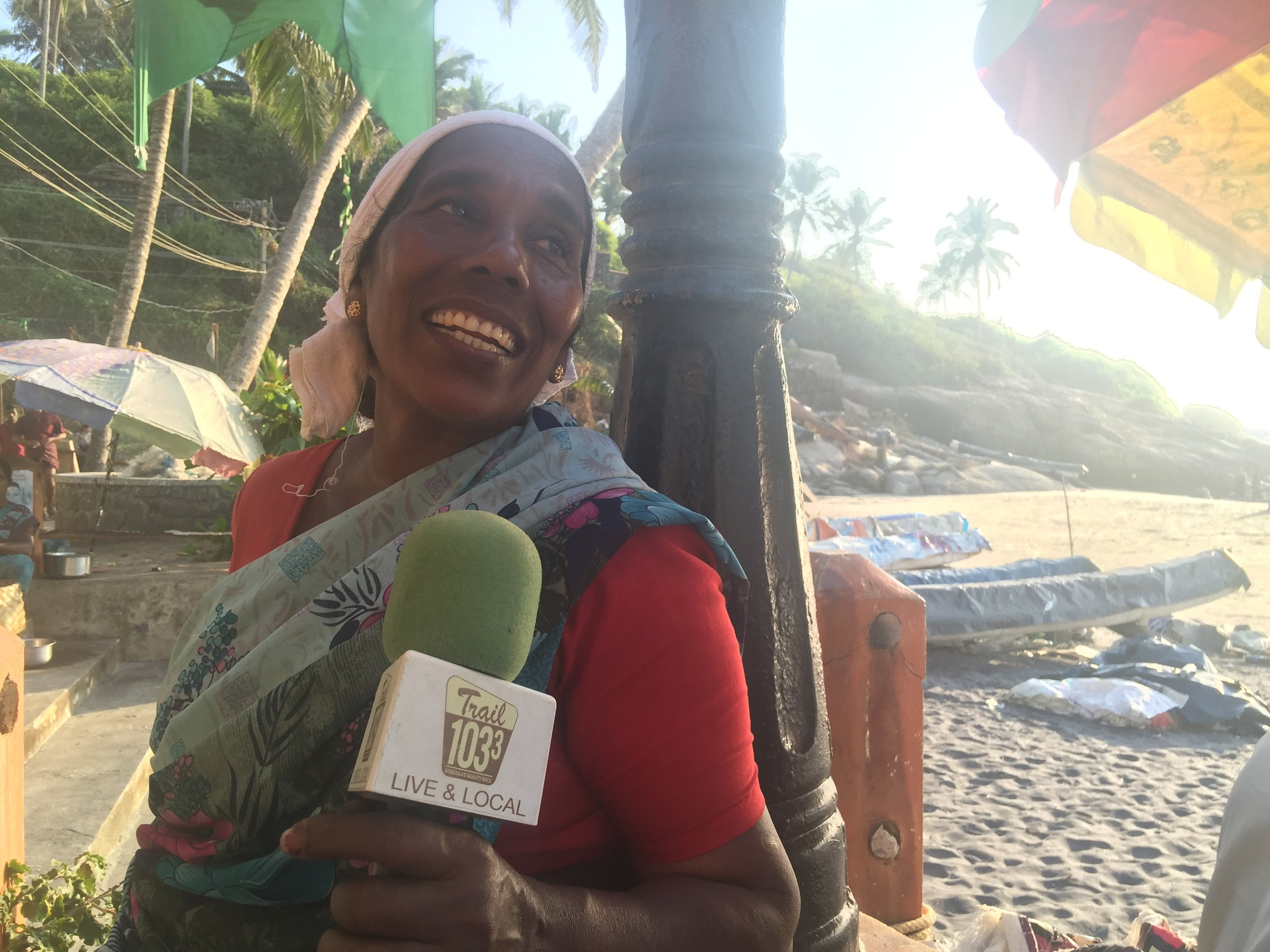 Recording on location next to the Arabian Sea. Featuring Eshowta, a powerful Indian woman who has been cutting coconuts and making coconut fiber ropes in Kerala, Southern India for the past twenty years.