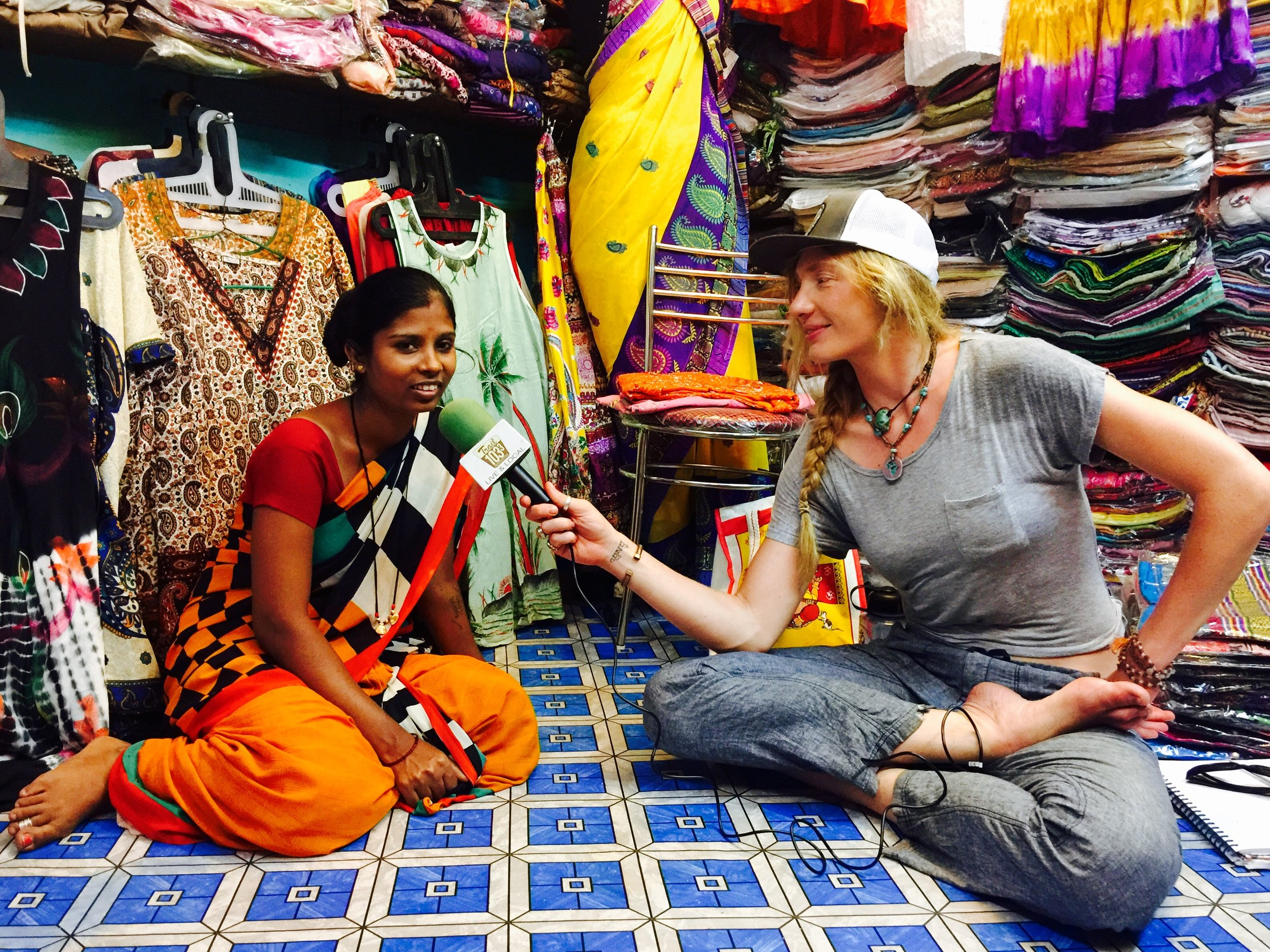 "Interviewing Lakshmi, a hard working Indian woman who works as a farmer in the summer & business women in her shop during the tourist season. Recorded in ""Tina's Shop"" in Kovalam, South India."