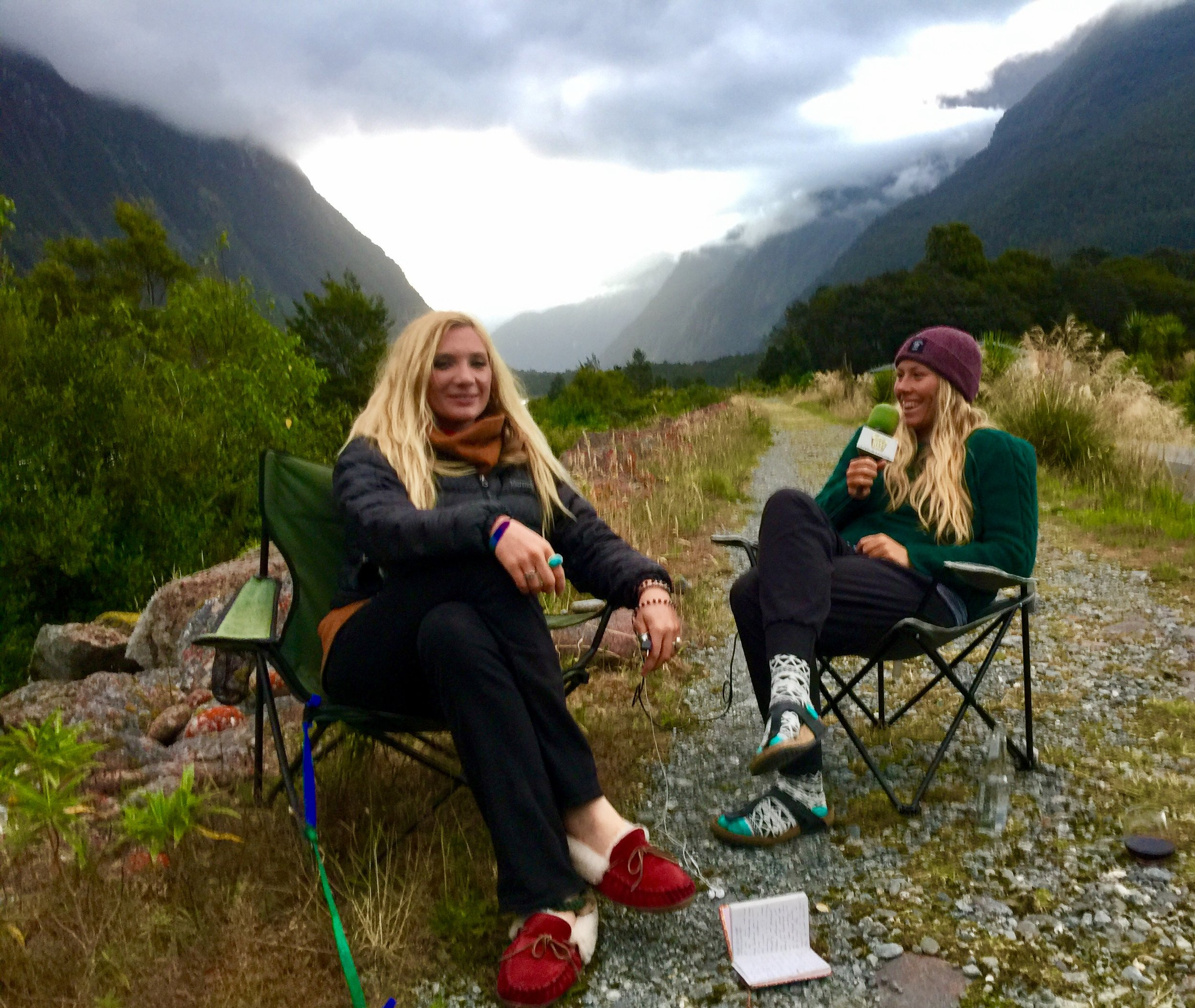 Mandela interviewing fellow sea kayak guide, Olive Butcher, on location in Fiordland National Park, New Zealand.