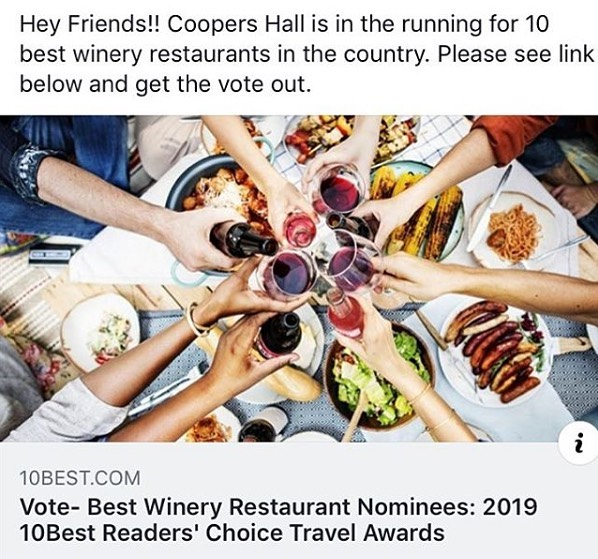 Vote for Coopers Hall! (link in bio). It only takes a second and does not require your email address 👍. https://www.10best.com/awards/travel/best-winery-restaurant-2019/coopers-hall-winery-and-taproom-portland-ore/