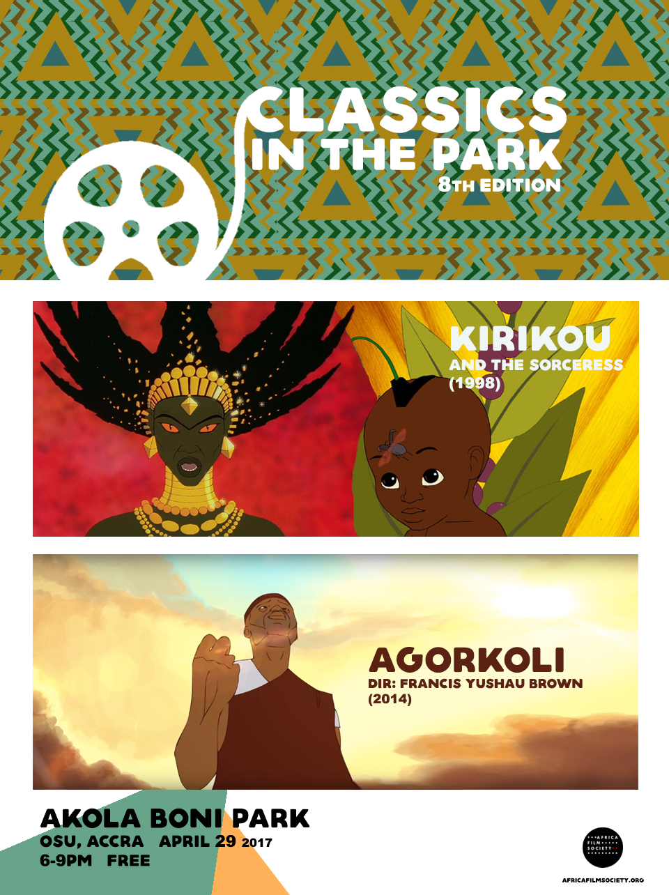 Africa Film Society's free outdoor film showcase 'Classics in the Park' will showcase African Animation for its Season Finale. Slated for April 29th, 6pm at Akola Boni Park in Osu, our 8th edition aims to reacquaint Ghanaian film audience with 1998 cult classic Kirikou and the Sorceress. We will open screening with Ghanaian animated short film Agorkoli (2014) by Francis Yushau Brown.   This will be our last screening for the Season. We will return in September for Season 2. We encourage our audience to bring a canned good on April 29th to be donated to South Labone Girls Vocational School which is opposite Akola Boni Park. We believe in making a positive impact in the communities we screen. Thanks in Advance. DIRECTIONS to Akola Boni Park can be found  HERE