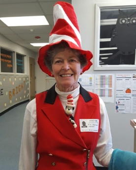 Ms. Fritz sharing Seuss joy at Woods Intermediate School