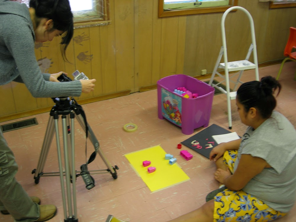 Catrina and Ernie work together on animation