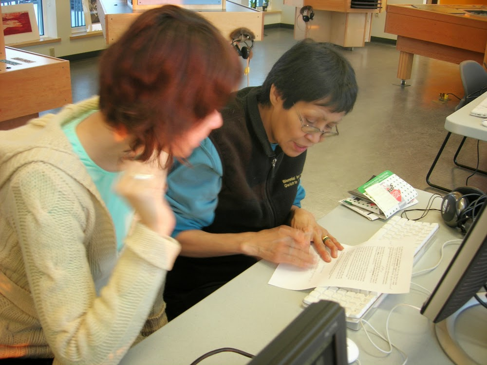 Mary Jane works on her script with Lisa J