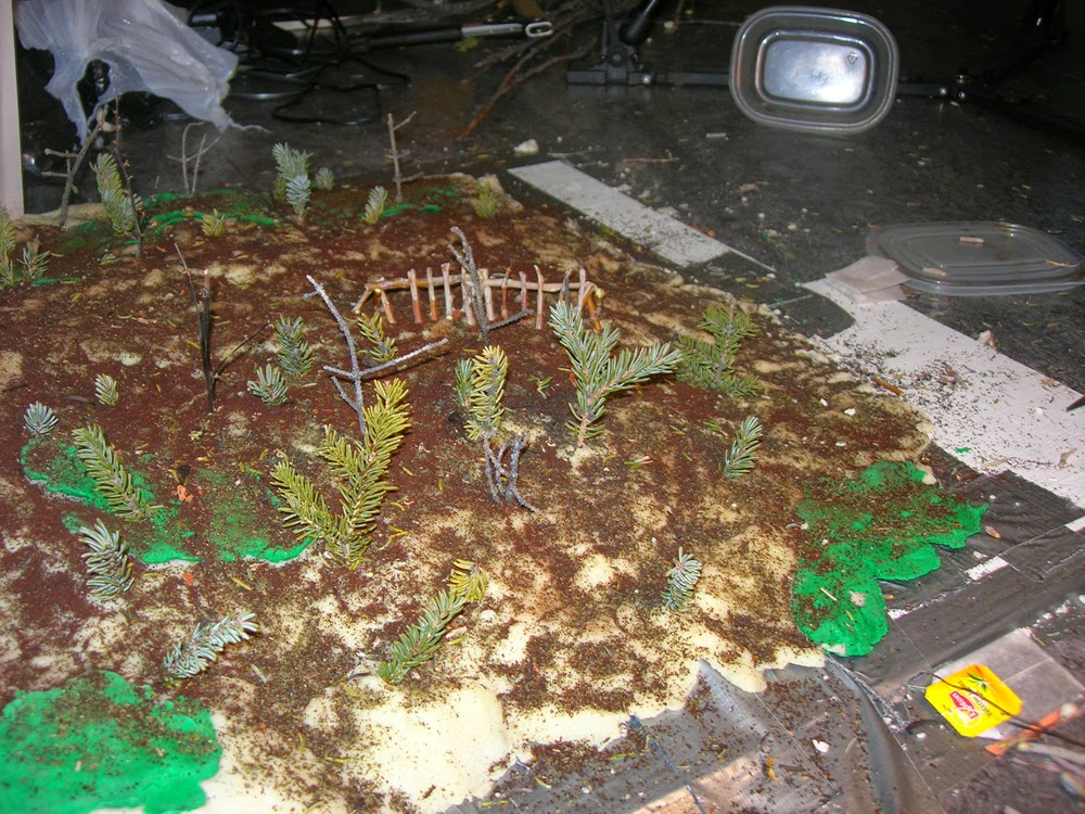The set for Caribou Fence made of home-made play dough, dirt and branches.
