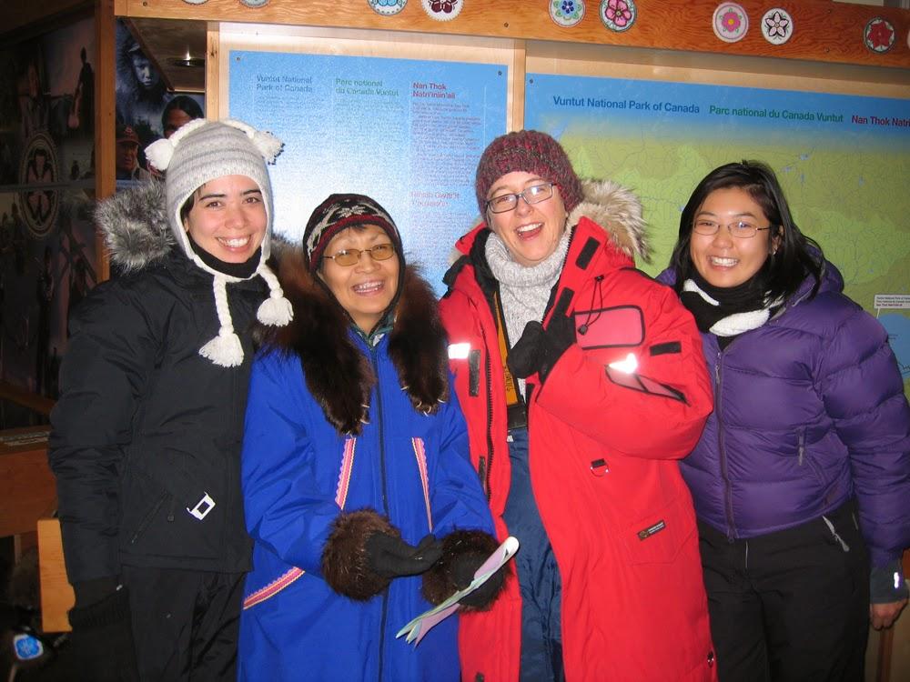 Dressed for 40 below:Cat, Mary Jane, Lisa g & Elisa Chee.