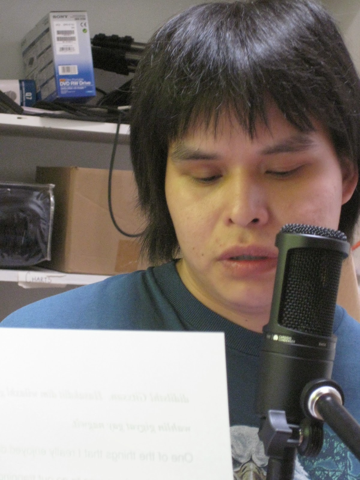 Jaye records his voice for his story about Living Off the Land