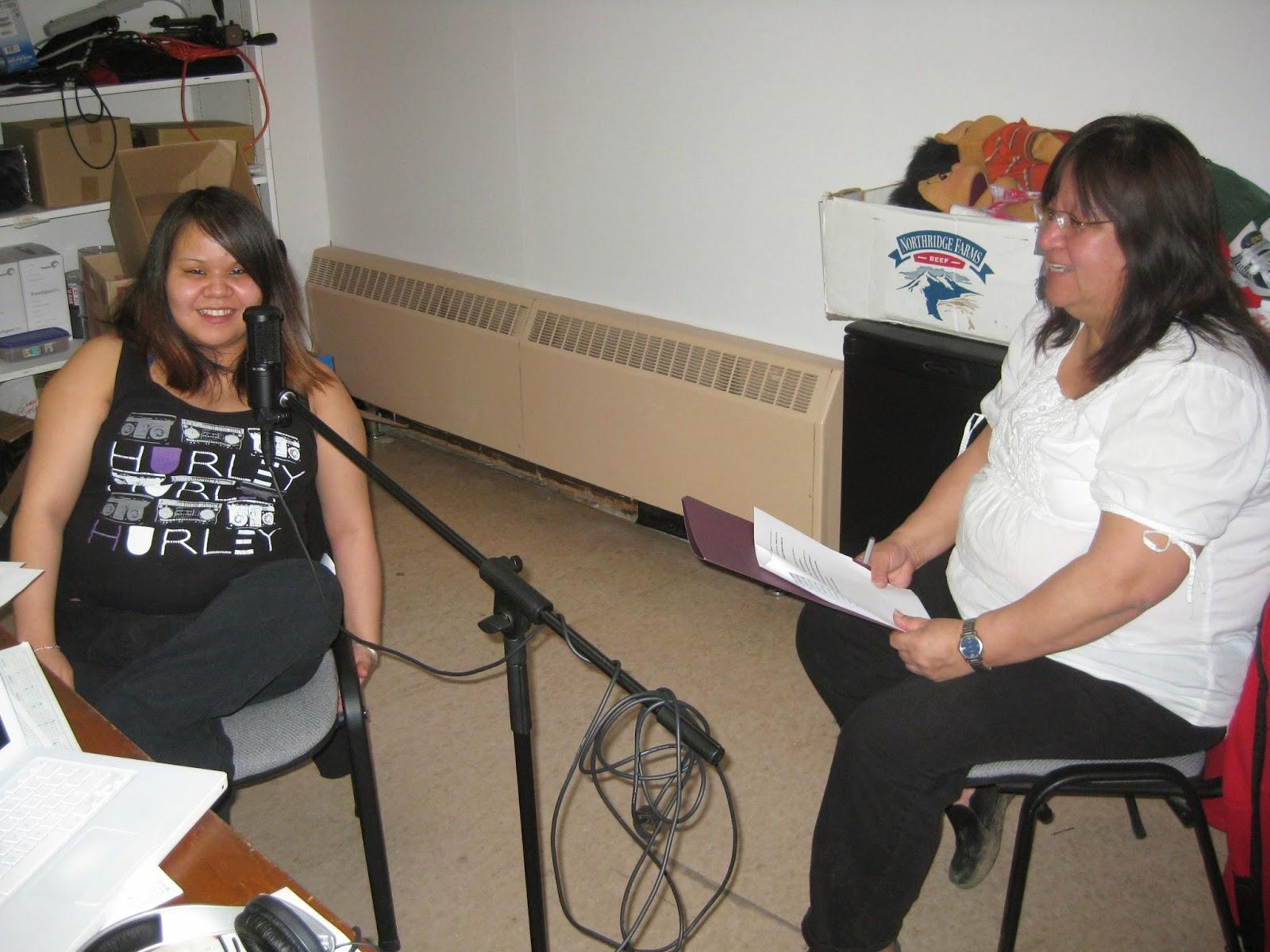 Audrey (right) helps Jezebel with pronunciation of Gitksan