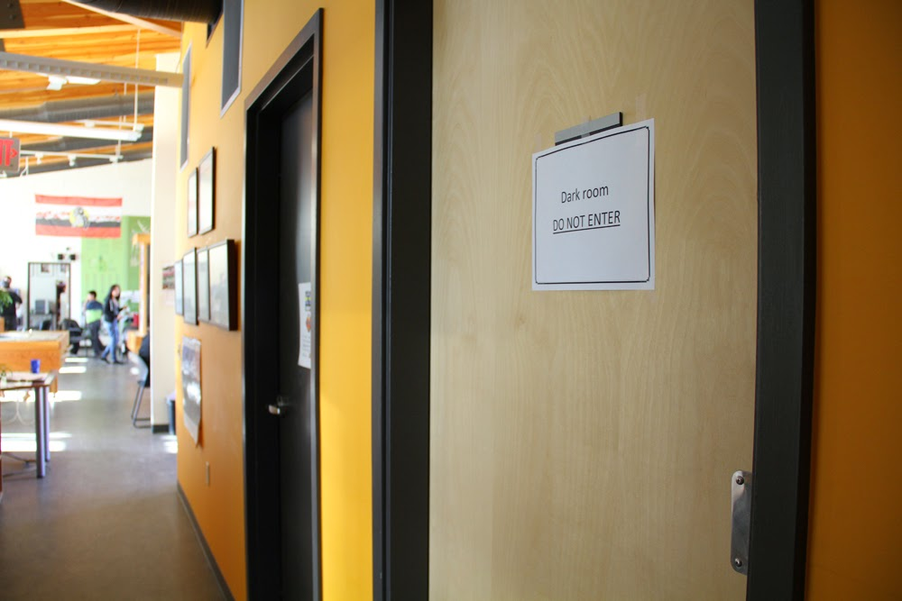 The women's washroom becomes the darkroom