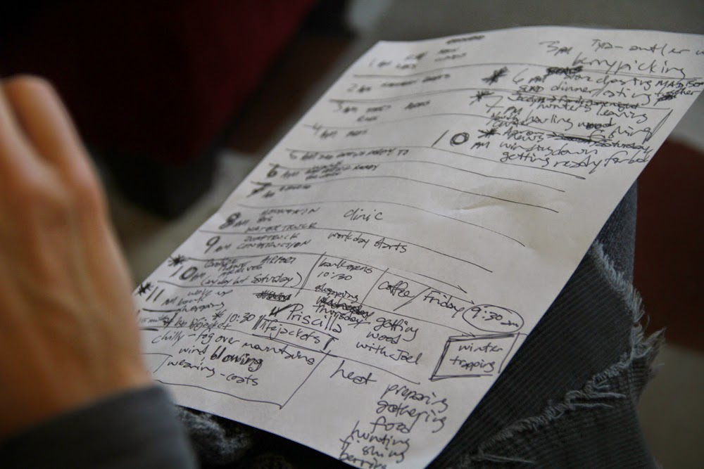 Mentor Lisa Marr takes notes to figure out scheduling and ideas