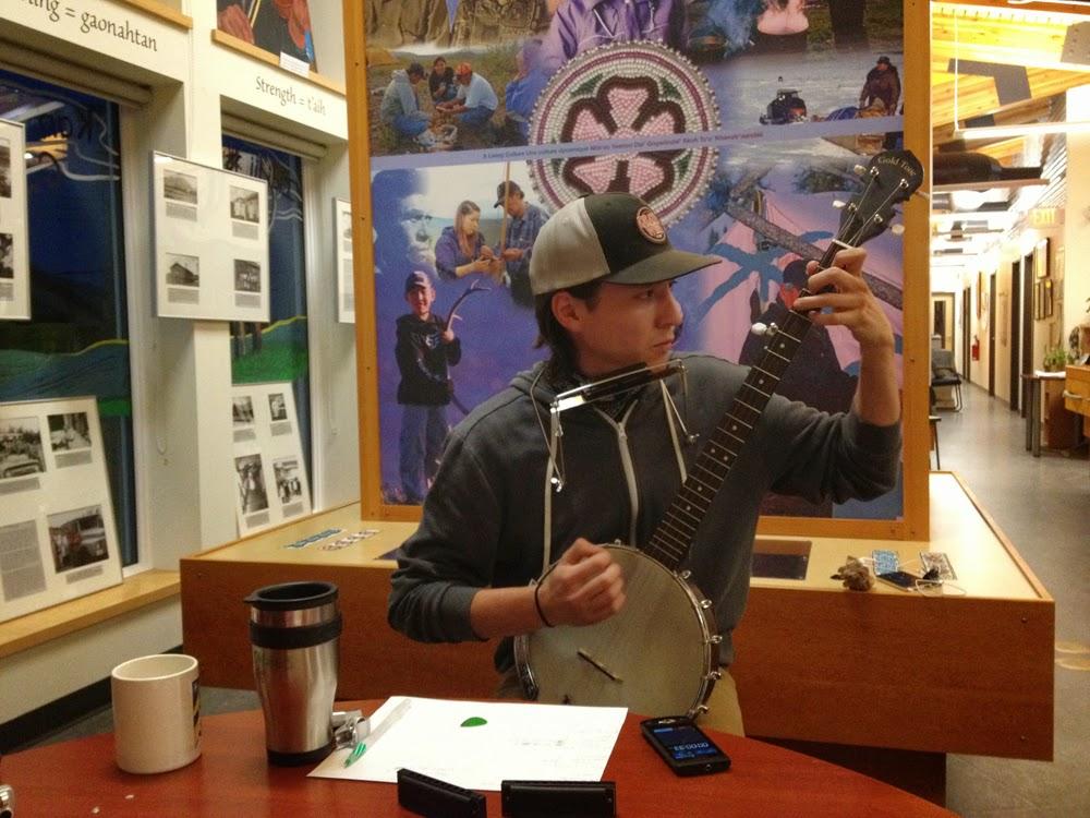 Dana records some banjo