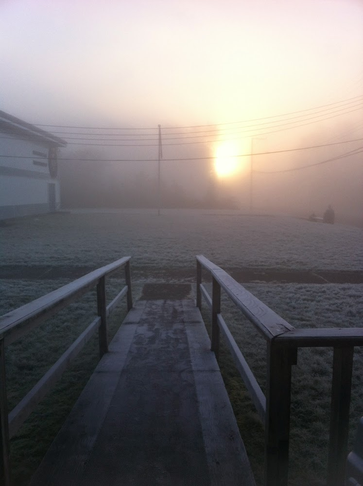 Morning Light from the door of the Haida Gwaii Rec production house....