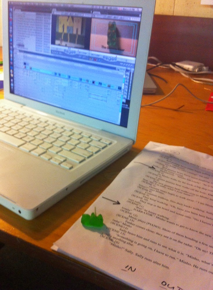 Referring to the script helps when inserting the narration!