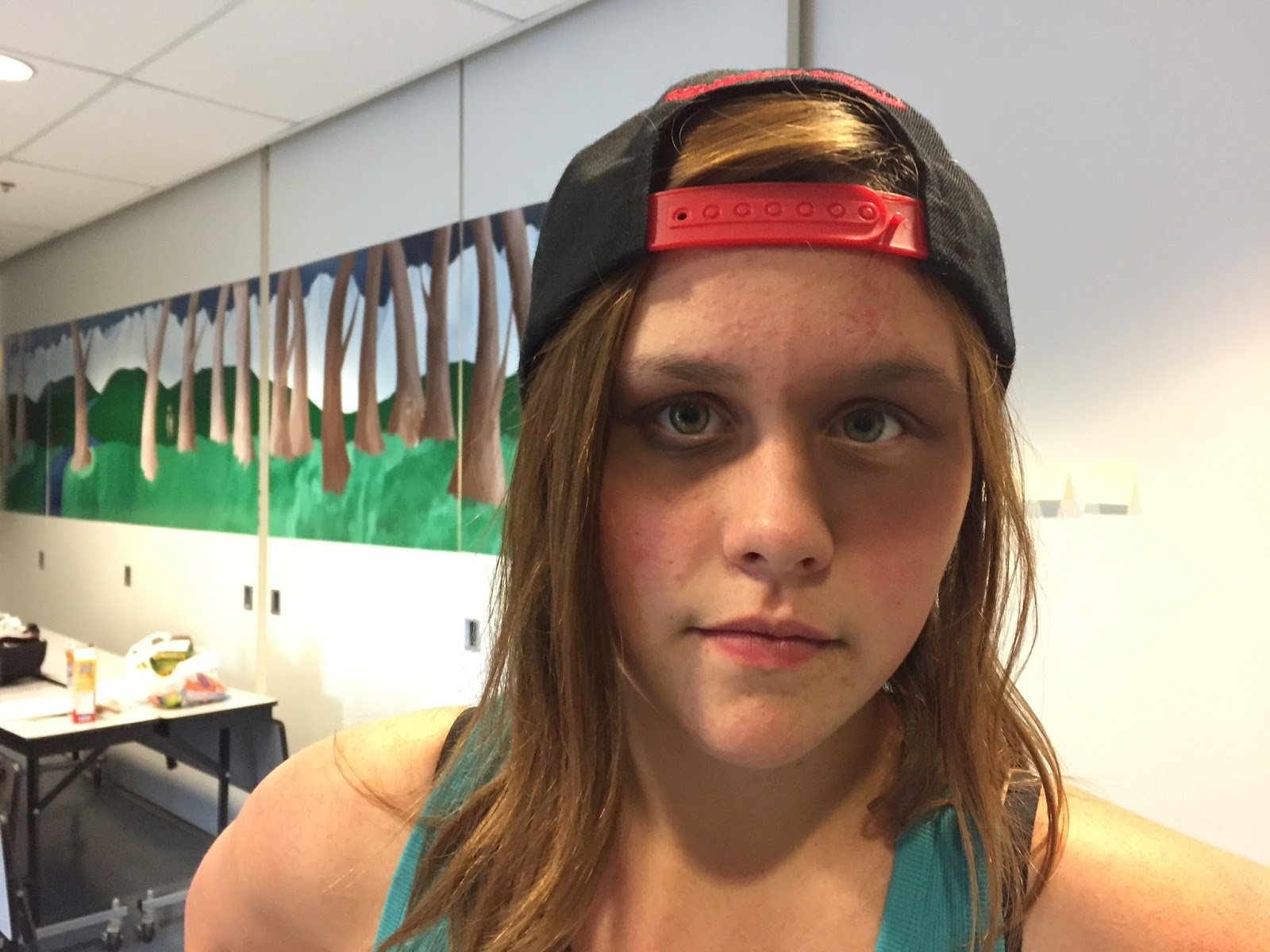 Niccola tests eye makeup on Hannah (the ghost)
