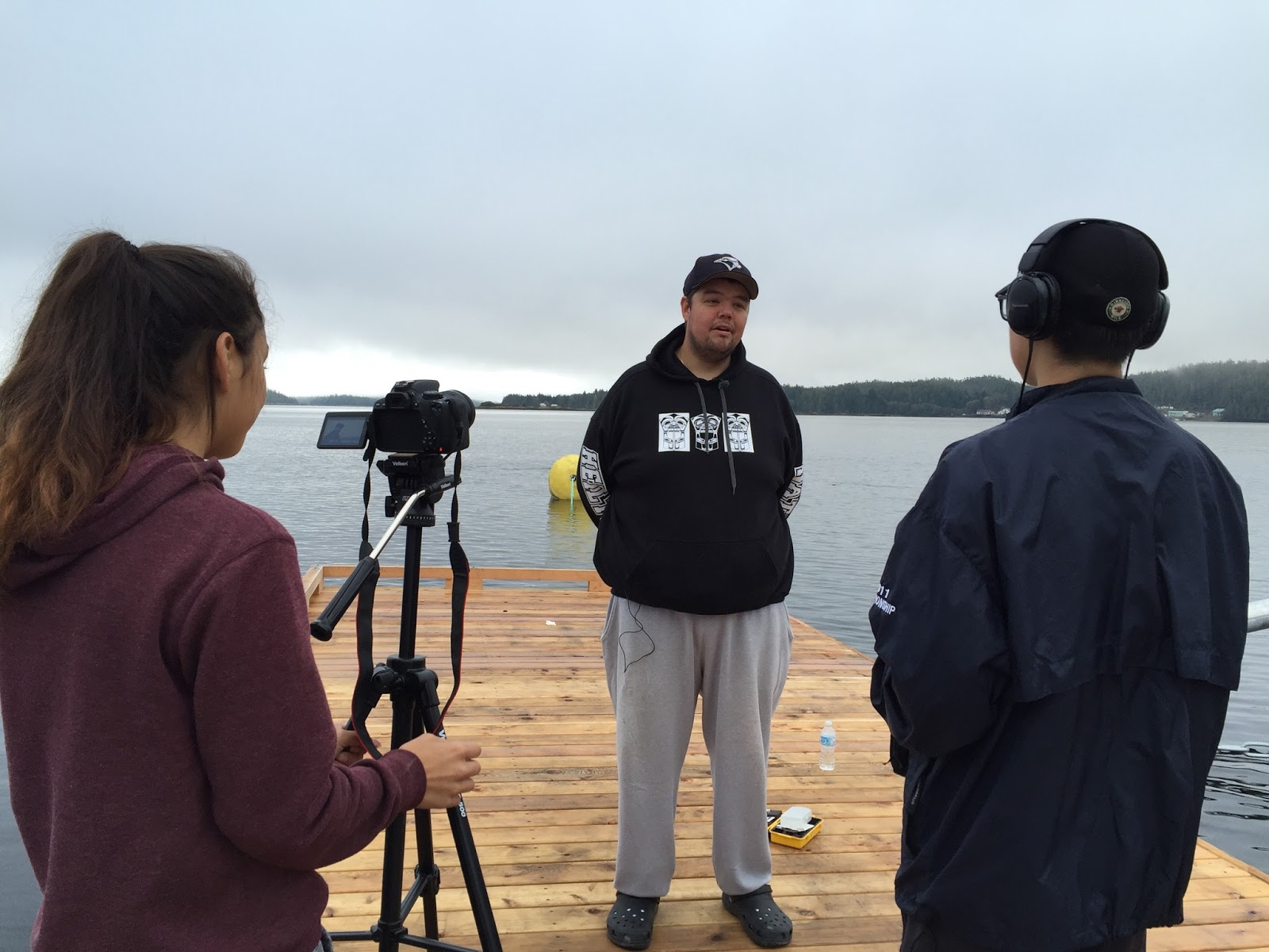 A great location for the interview with Lama Inlet in the background