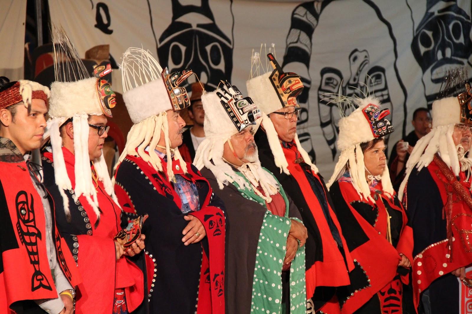 Heiltsuk Hereditary Chiefs in glorious regalia