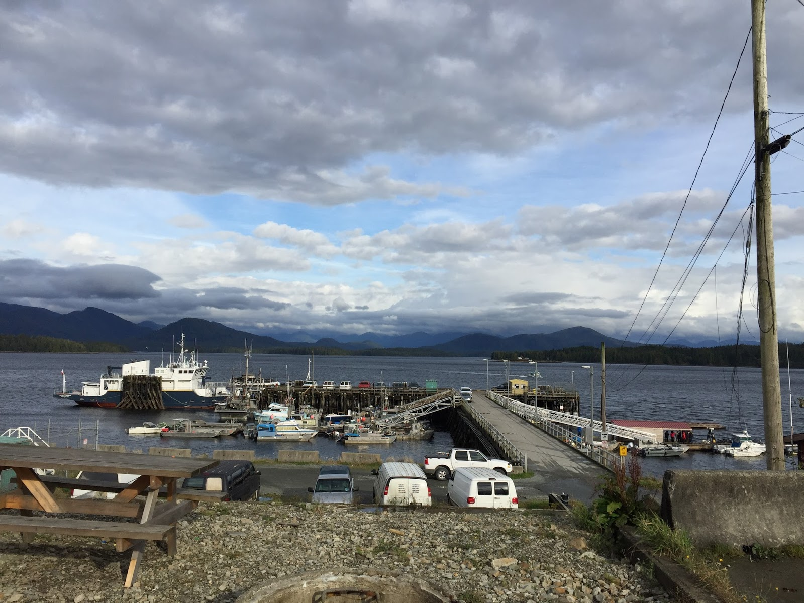 A little blue sky pops out by the store looking out at the dock and the sea bus