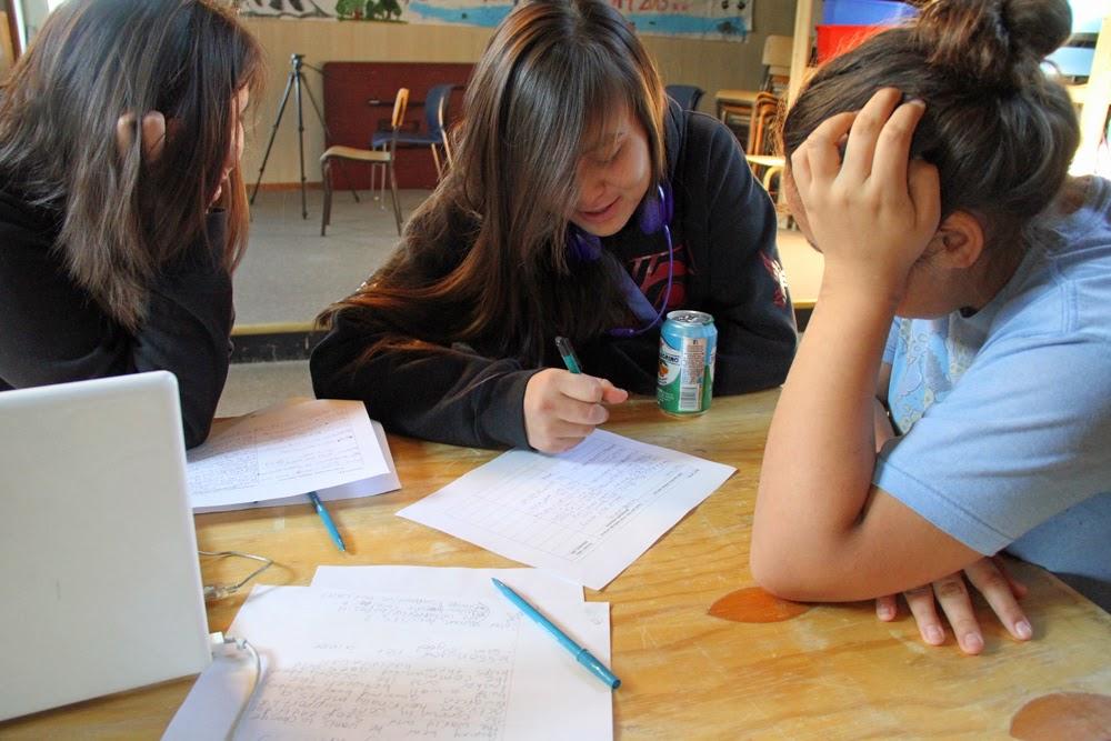 Hannah, Brannon and Caylene work on their script
