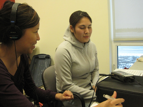 Chelsea (left) interviews her friend Ashley