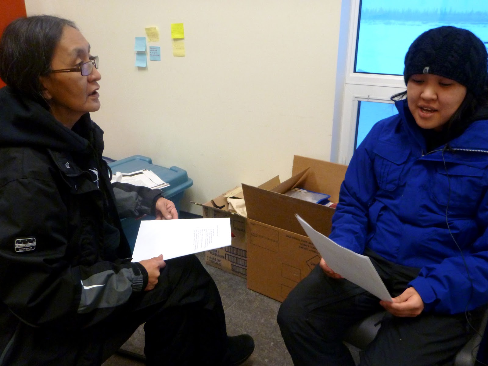 Brenda helps Sheila with her Gwich'in pronunciation for her recording