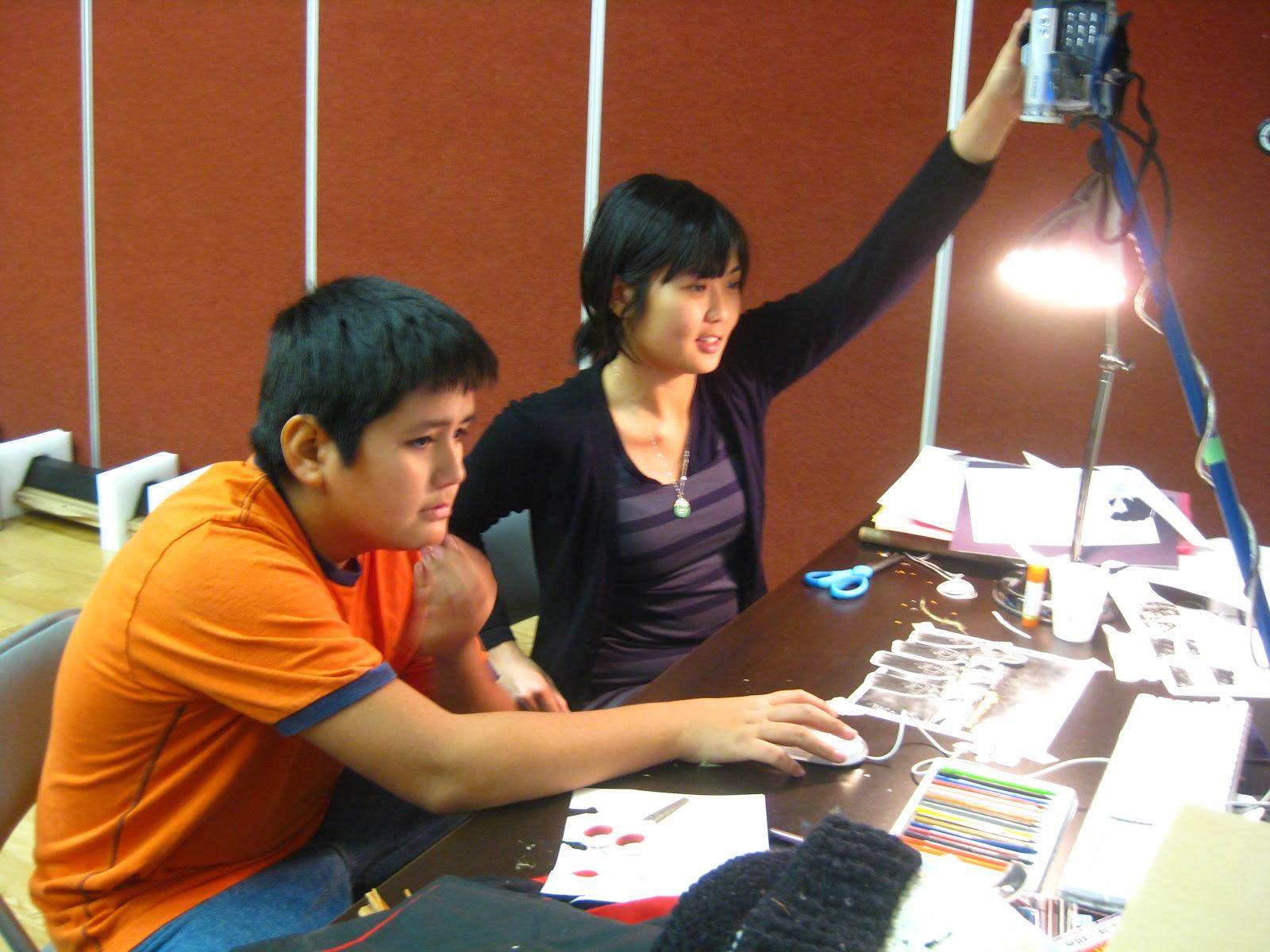 Elisa and Jerrel work on animation