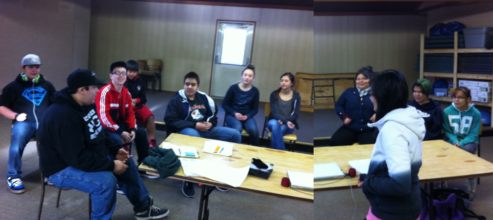 Kiefer talks to the students in the community centre...