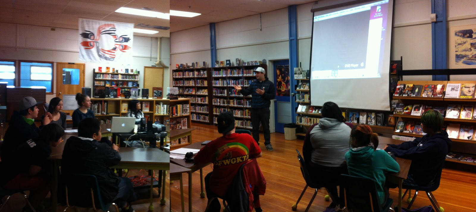 Nate takes his turn at inspiring the students in the school library.