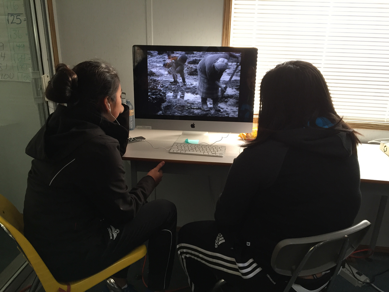 Haley and Annie watch the NFB film  Blunden Harbour  and get to see footage of the Homelands and their families for the first time