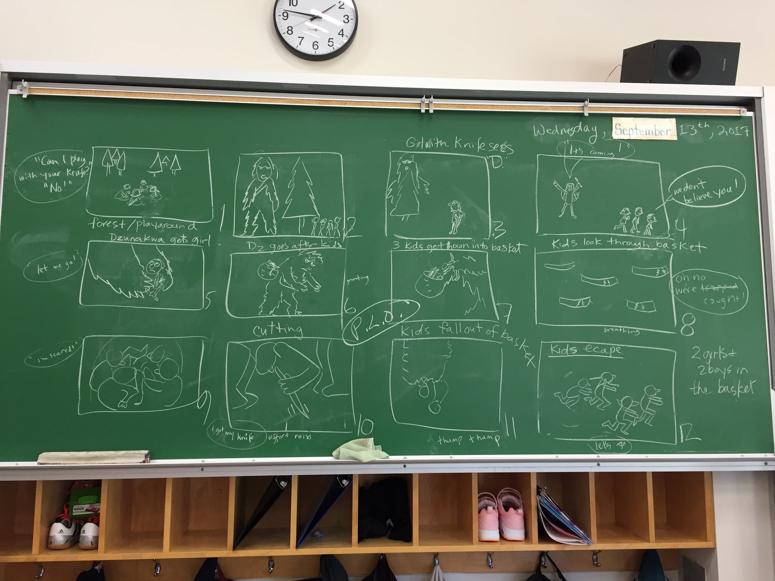 The story board for The Legend of the Dzunuk'aw