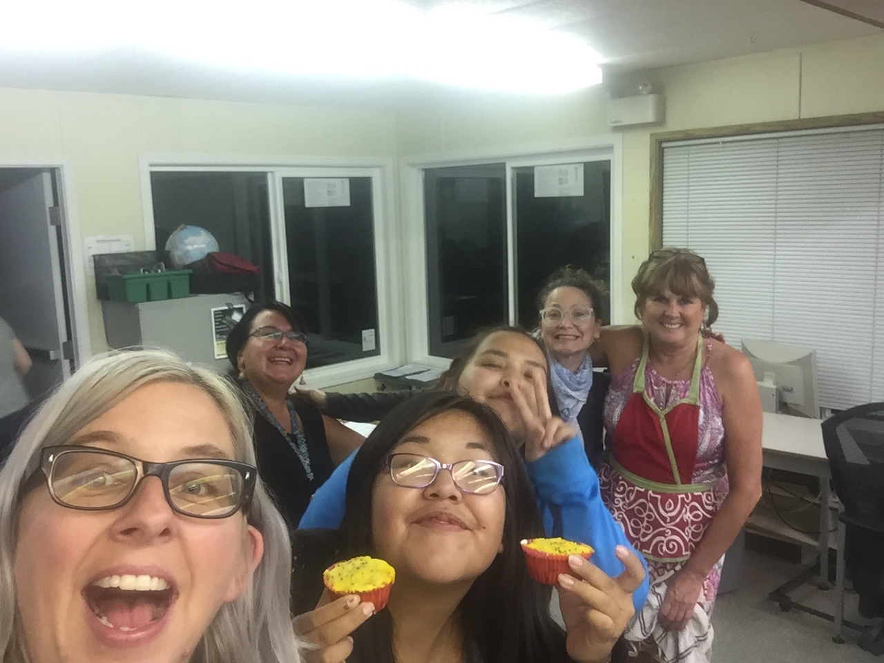 Another happy selfie: Lisa g, Leah, Roberta, Kelly, Odessa and Debbie (the chef)