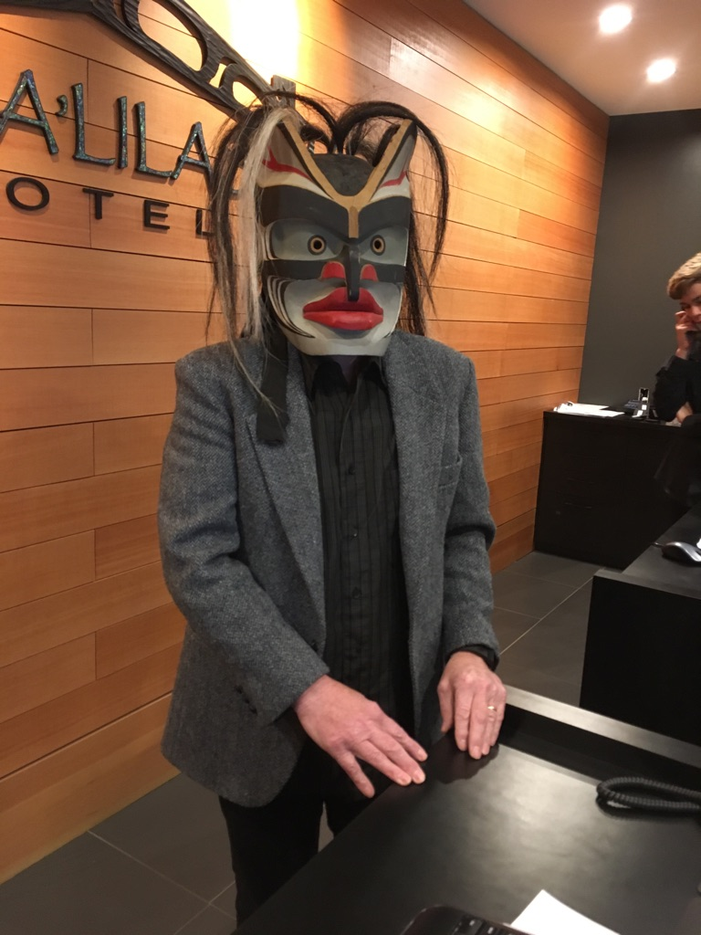 Linguist Peter Wilson, dons the Bakwas mask for the final scene while filming at the Kwa-Lilas Hotel.