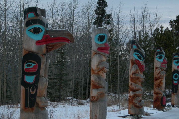 The totems represent the clans of the area