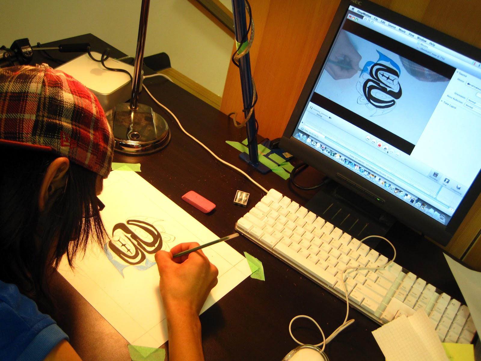 Sherman painting at his animation station