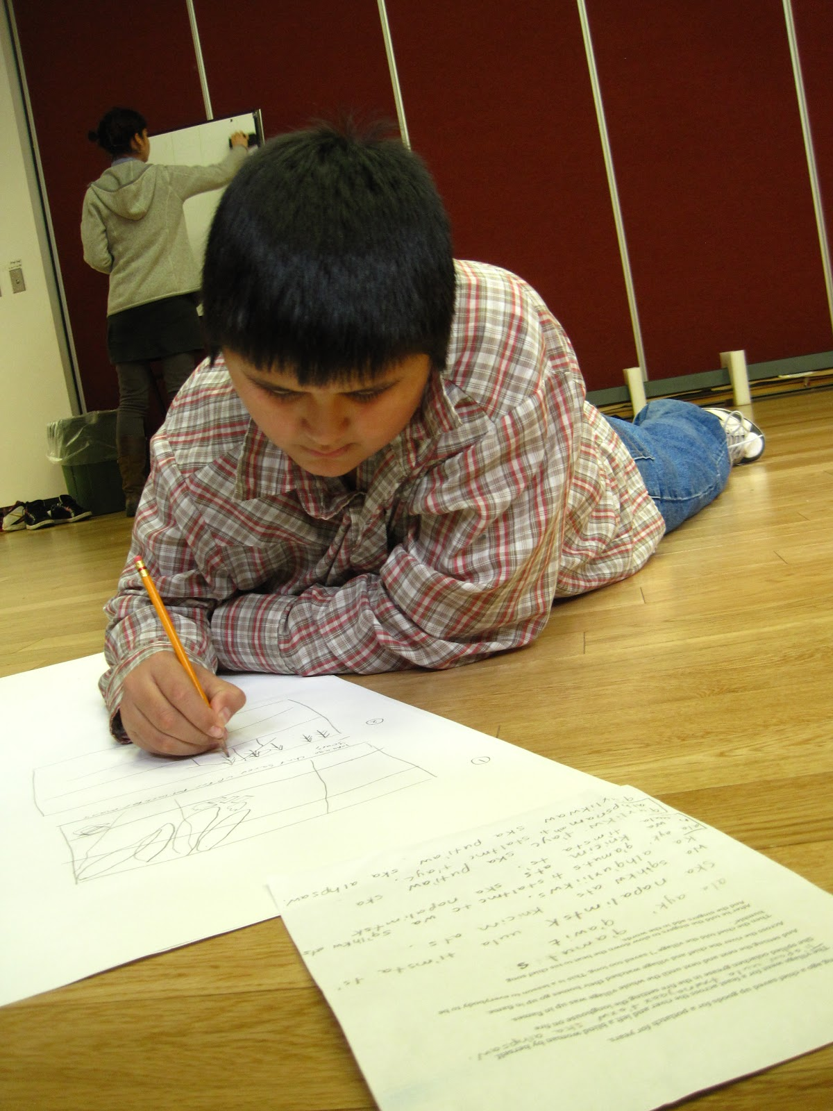 Here is Jerrel working on his storyboard