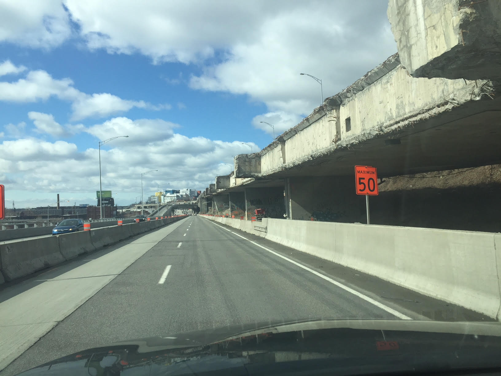 The drive from Montreal city centre to Kahnawake moves through serious construction zones...