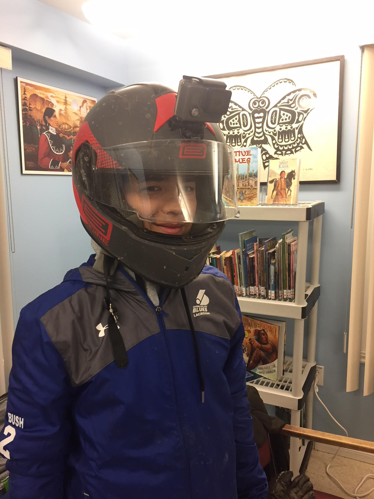 Kanerahtens, with his GOPRO on his helmet, is ready to film night footage.