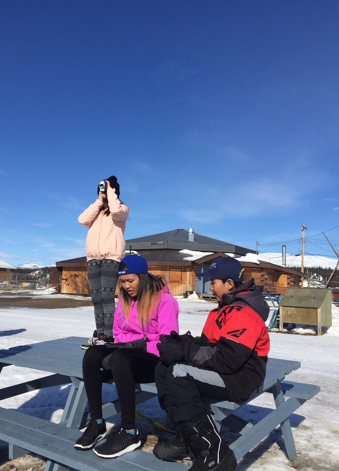 Jynesta loves the camera and gets a birds eye view of the river while Allison and Dreyden enjoy the sun
