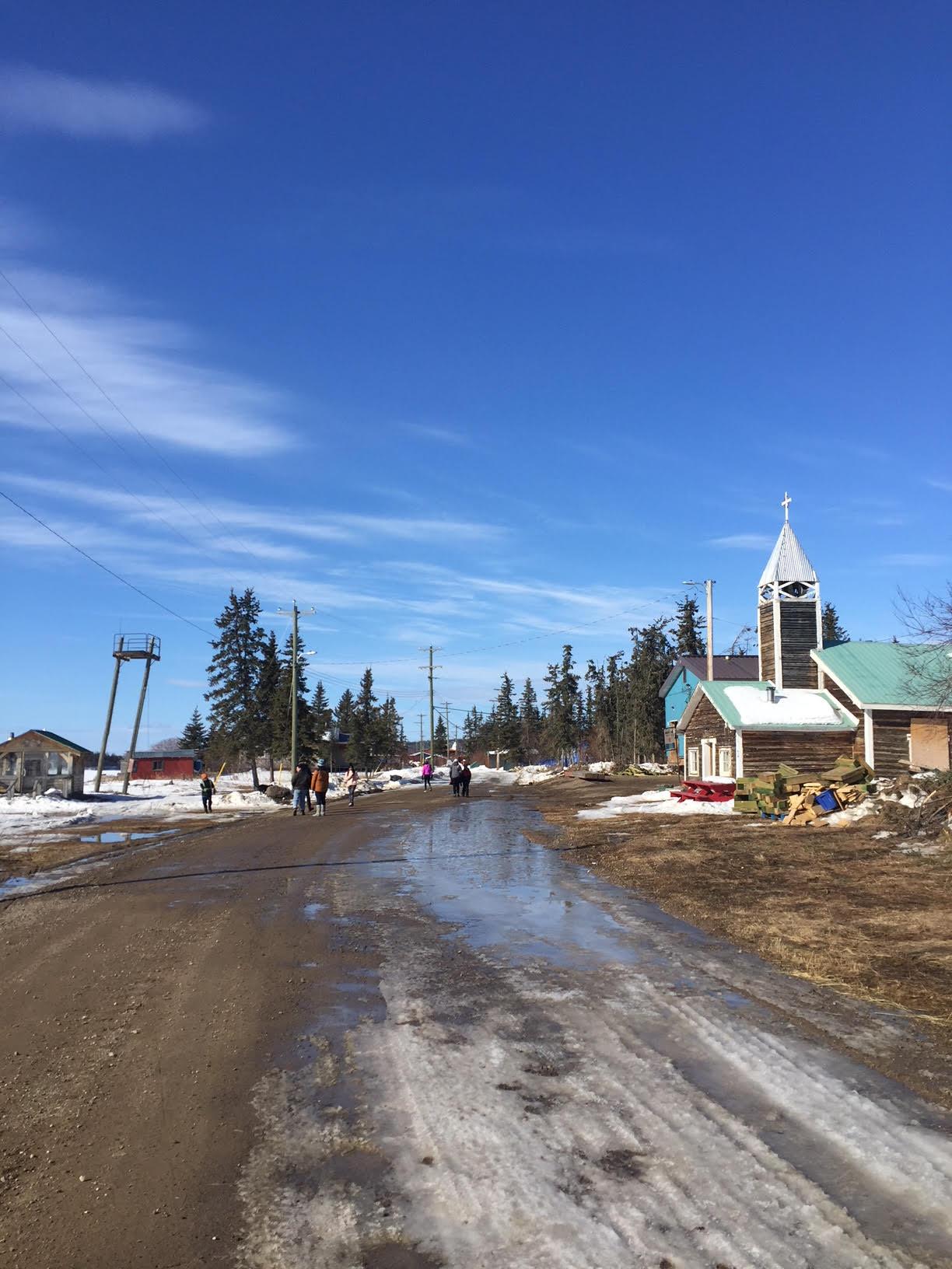 The walk toward the church