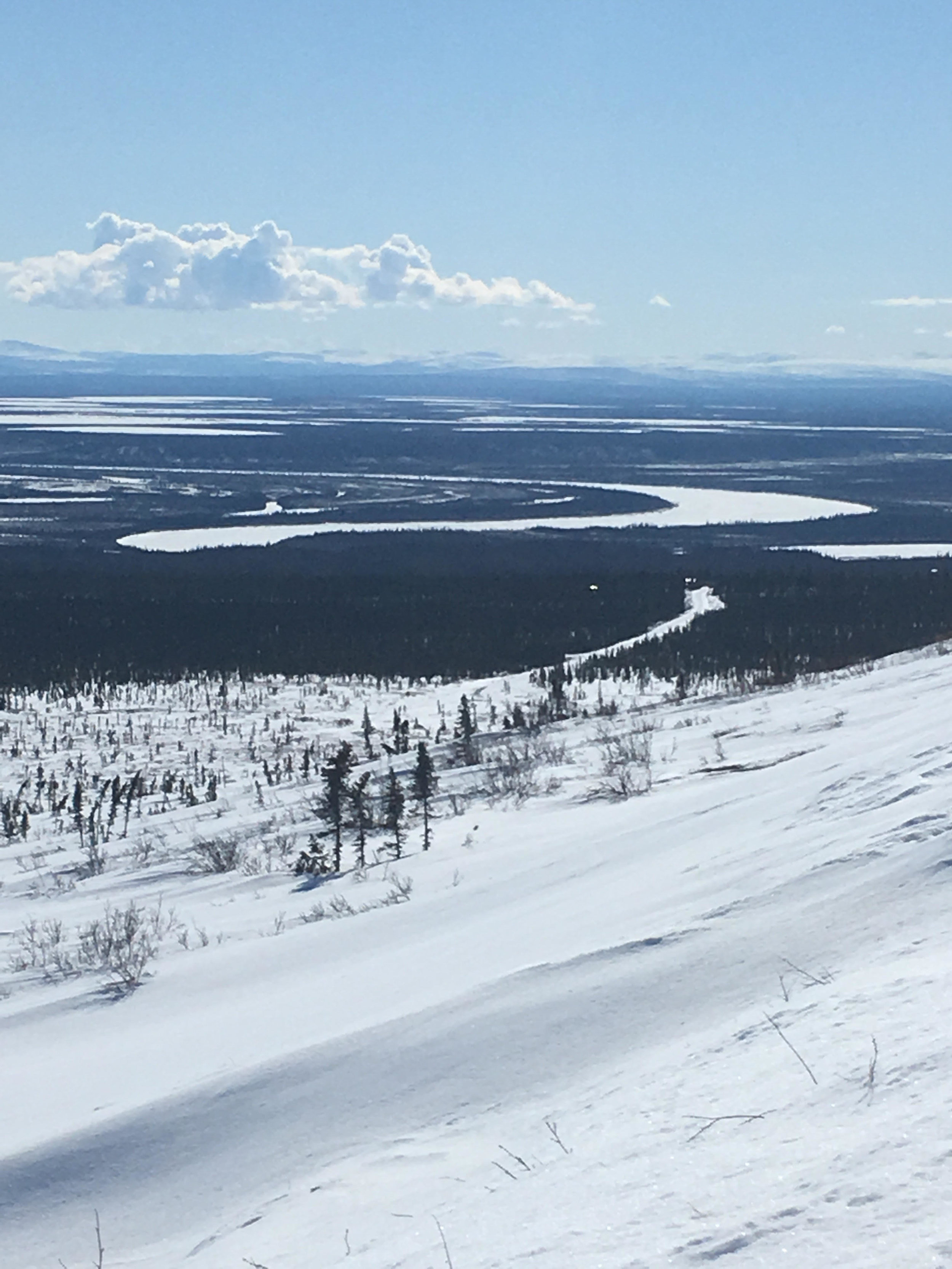 A view of Porcupine River and Old Crow from Crow Mountain