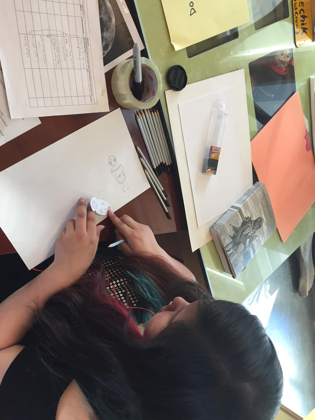 Ciara works on her Gwich'in characters