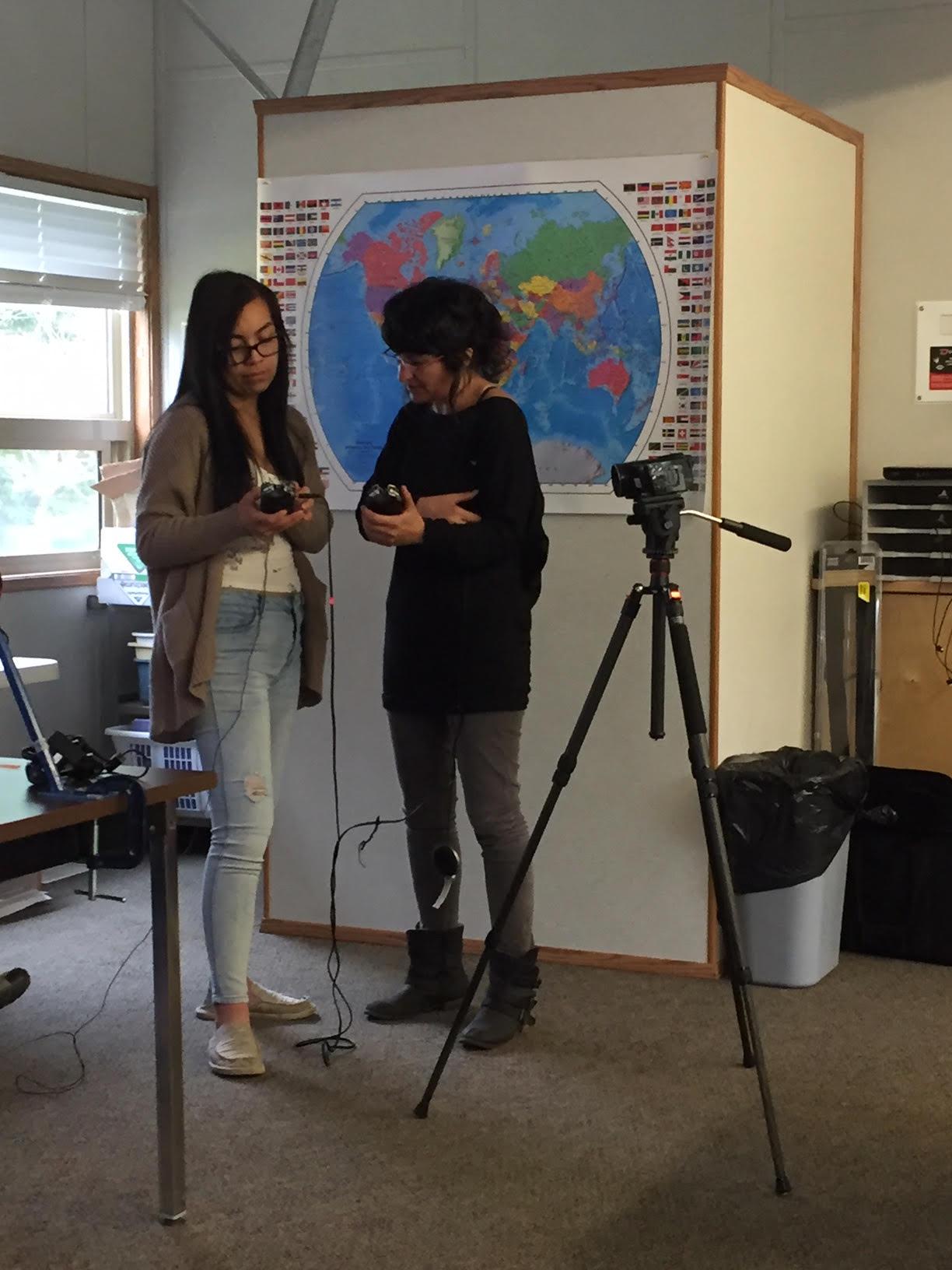 Sebnem shows Miranda camera and sound equipment