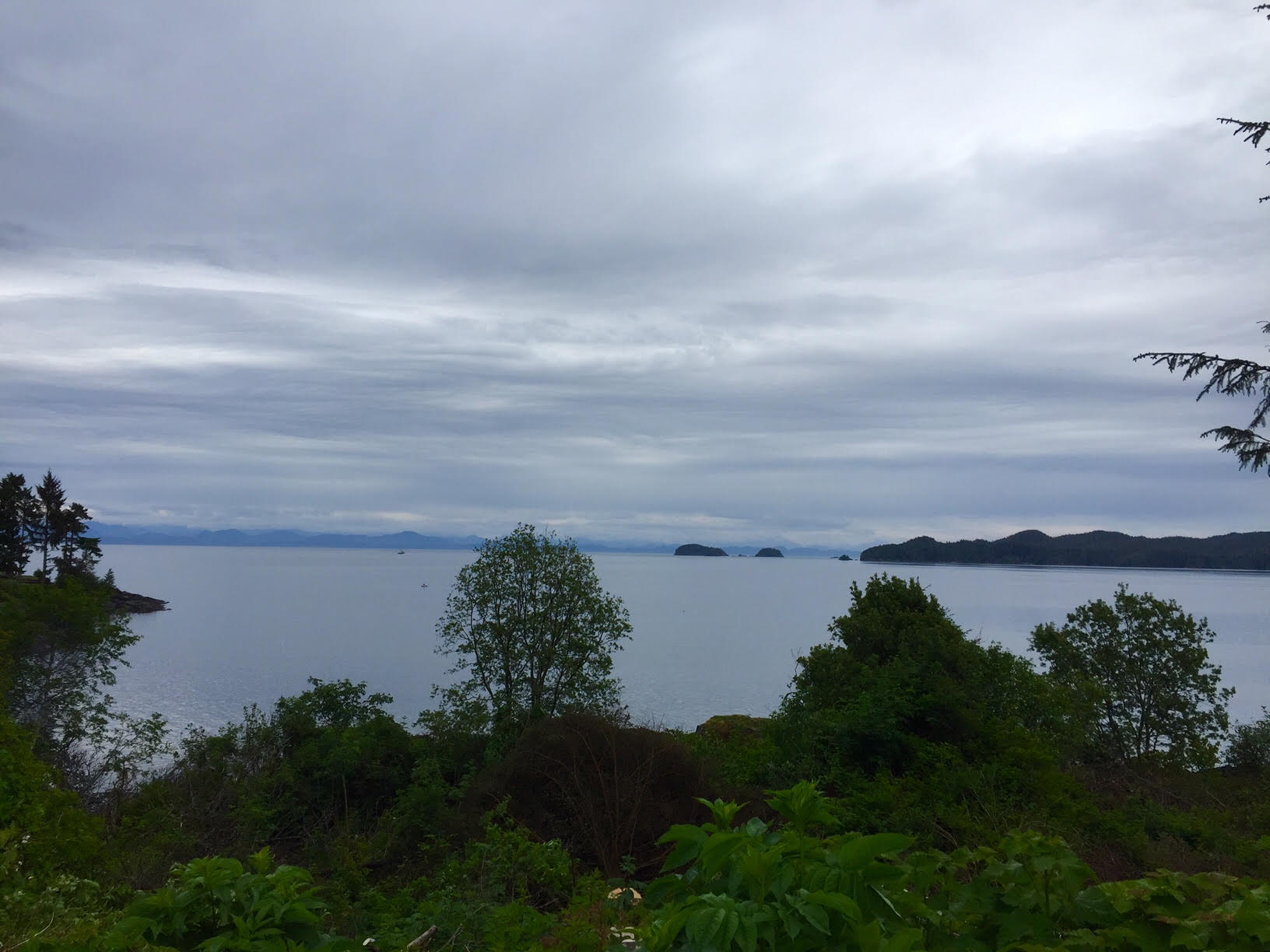 The view back down to Eke Me-Xi (Queen Charlotte Strait?)