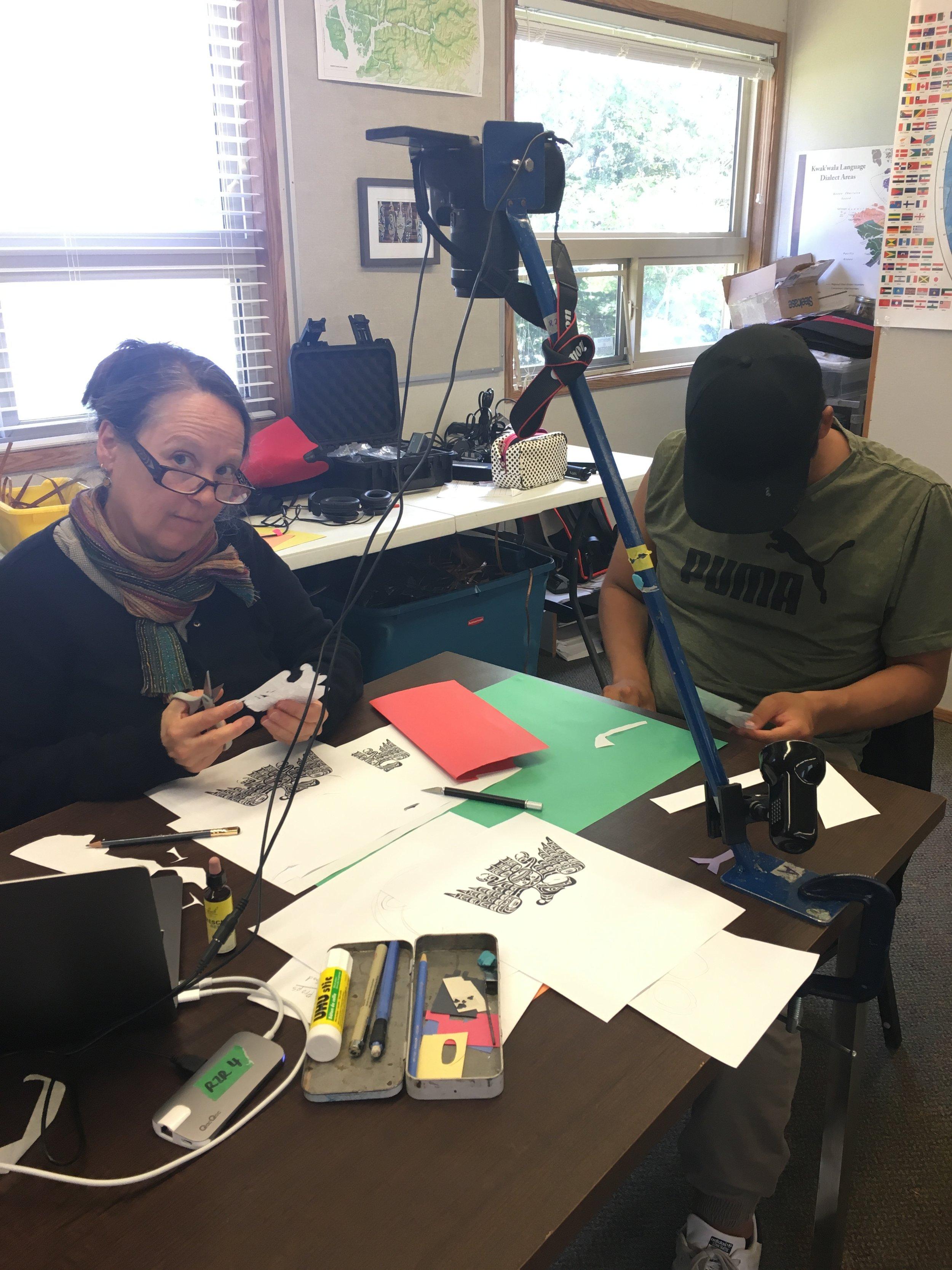 Tracy and Kayle work on animating a Thunderbird!